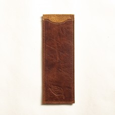 Le Tabac leather brush holder brown 7x20 cm
