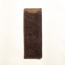 Le Tabac leather brush holder dark brown 7x20 cm